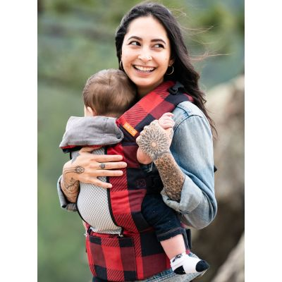 Beco 8 Baby Carrier Buffalo Plaid baby sits in front carry position