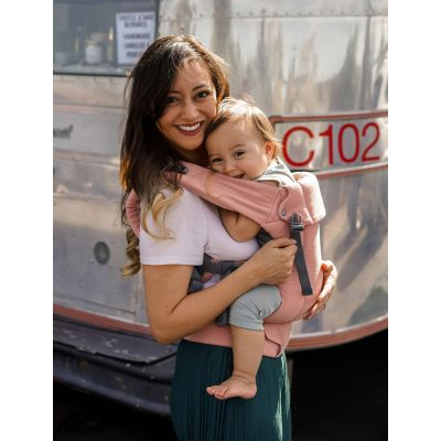 Beco Gemini Baby Carrier Ahoy used by mother to front carry her child