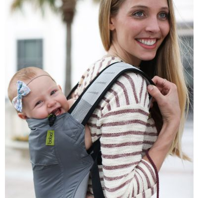 Boba Air Ultra Compact Baby Carrier Grey used to back carry a baby girl