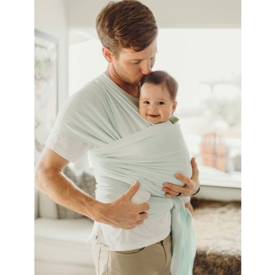 Boba Baby Wrap Pale Blue used by father to carry baby