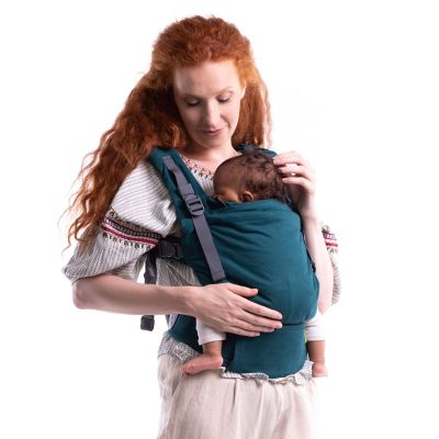 Boba X Atlantic Baby Carrier used to carry a newborn