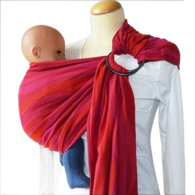 DidySling Waves Garnet Woven Wrap Conversion Ring Sling on Mannequin