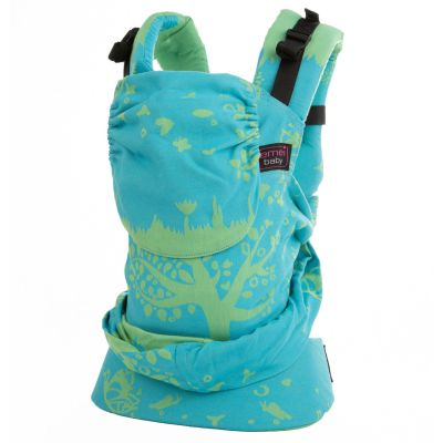 Emei Baby Hybrid Soft Structure Organic Wrap Conversion Baby Carrier Full Treemei Turquoise Pea