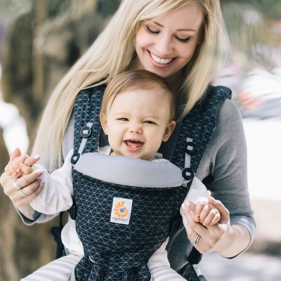 Ergobaby Omni 360 Cotton Baby Carrier Geo Black used in forward facing position