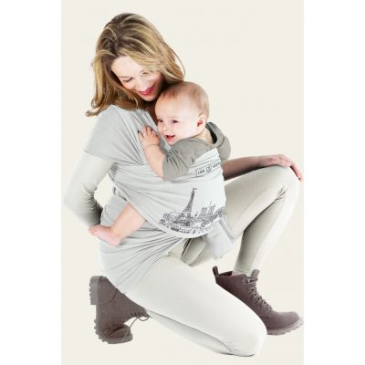 Love Radius Basic Baby Stretchy Wrap Tattoo Paris Pearl with toddler