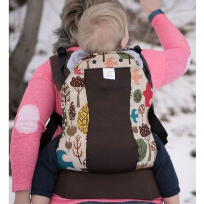 Kinderpack Carrier Woodlands Whimsy with Koolnit mother backcarry child