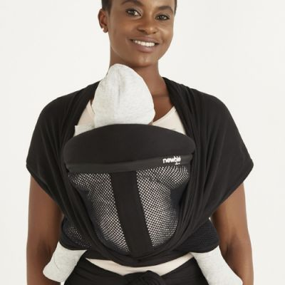 Newbie Love Baby Wrap Premium Mesh Black used to carry a baby in front carry position