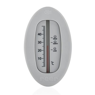 Reer Bath Thermometer Oval Gray Front View
