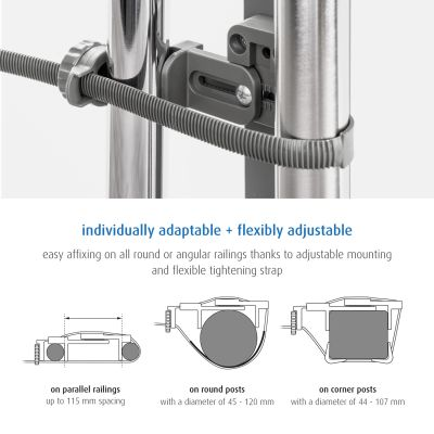 Reer StairFlex Safety Gate Adapter Kit for Railings Anthracite can be used for different types of railings