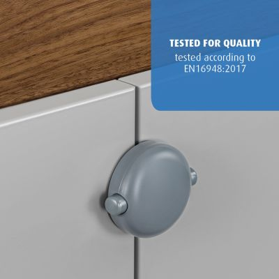 Reer Cabinet Lock for Double Doors Grey engaged