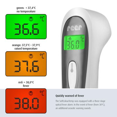Reer Color SoftTemp 3in1 Contactless Infrared Thermometer with colored backlights