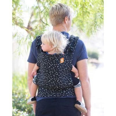 Father backcarry his toddler in a Tula Celebrate Toddler Carrie