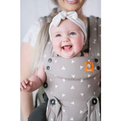 Happy Baby in a Tula Explore Sleepy Dust Baby Carrier