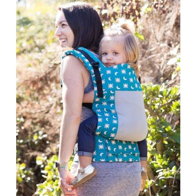 Lady back carries a toddler in a Tula Toddler Coast Aurora Carrier