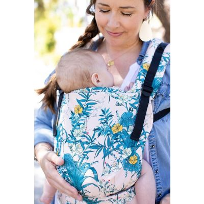 Lady front carries baby in a Tula Lanai Free-To-Grow Baby Carrier