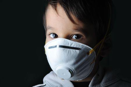 Child using an over-sized N95 mask