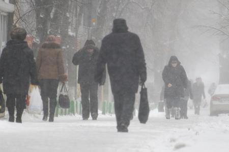 People walking in the streets in winter