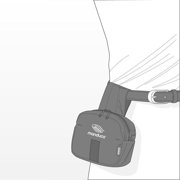Manduca Carrier Belt Pouch use on a regular waist belt hanging lower