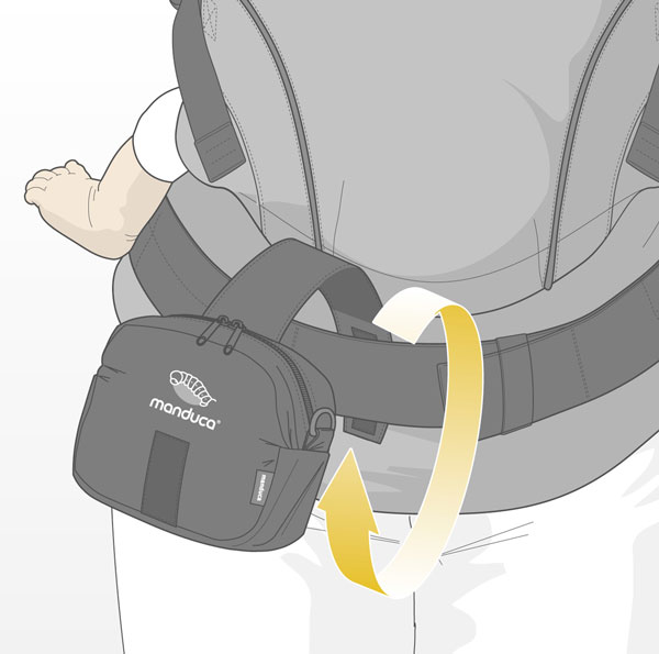 Manduca Carrier Belt Pouch use on the broad hip belt of a manduca baby carrier