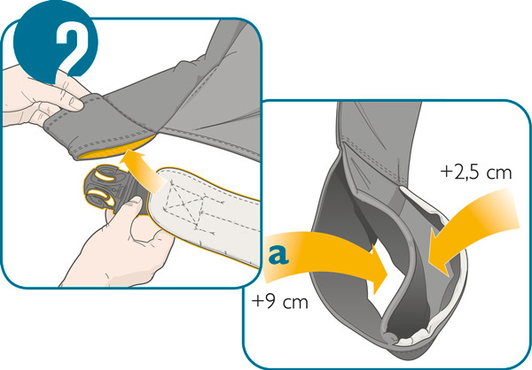 Usage step 2: Choose the correct slot to slot in the belt to extend the manduca seat by 5cm or 18cm