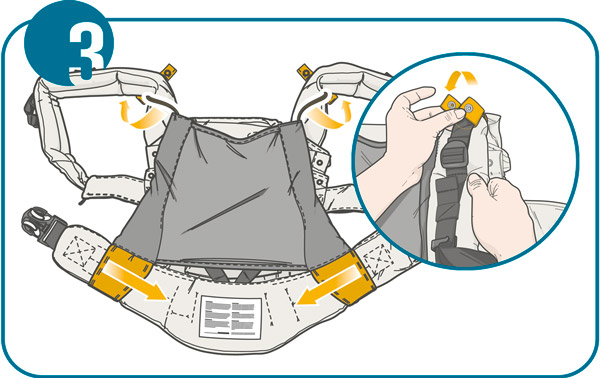 Usage step 3: Ensure the slot goes fully to the edge of the carrier panel and button up the securing strap to the straps of your Manduca Carrier