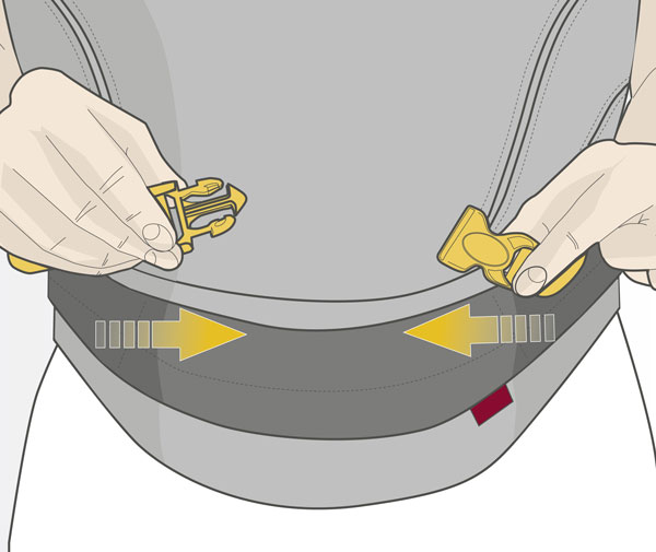 Usage step 2: Pull the straps to buckle up infront of your carrier close to the hip belt.