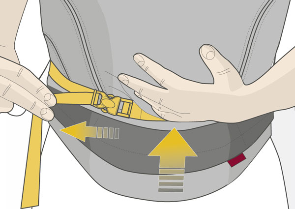 Usage step 4: Tighten the straps one side at a time until the carrier seat is the size you desire