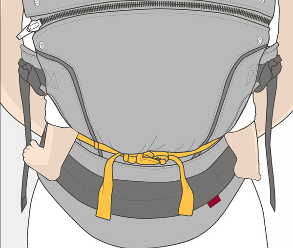 Usage step 5: Put your baby into the carrier and check that the seat is just right for your baby from knee to knee